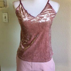 Pink velvet sleeveless top